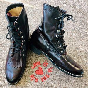 EUC Justin Hiram Boots, Lace-up, Reddish Brown